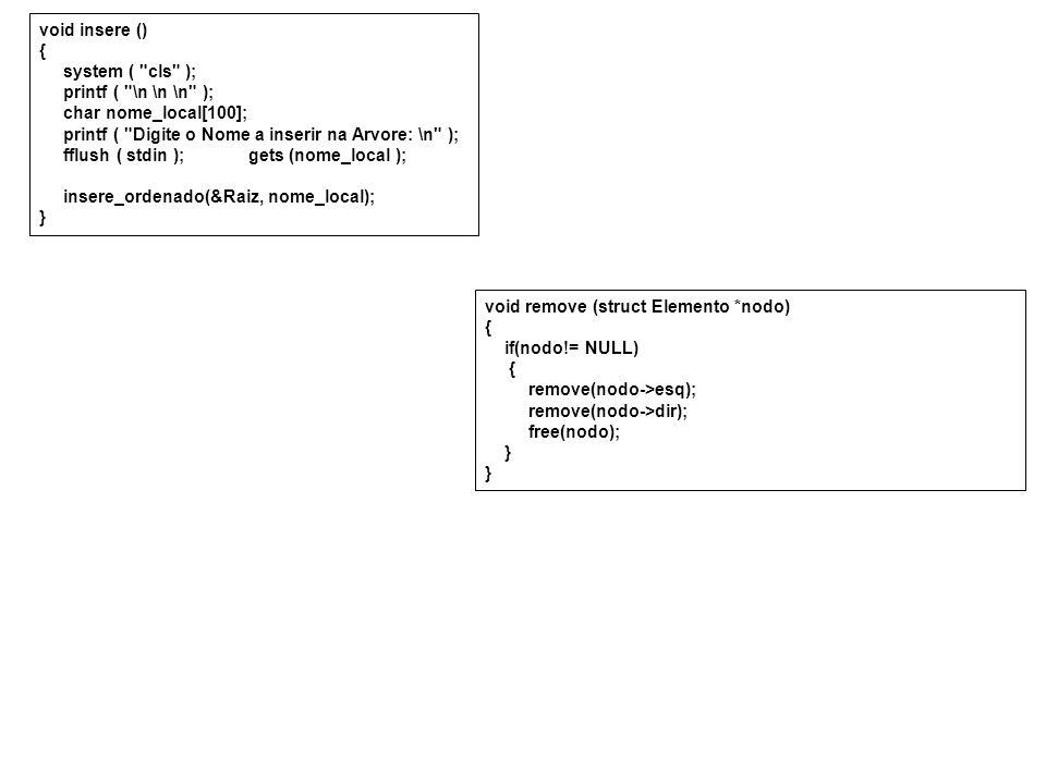 void insere () { system ( cls ); printf ( \n \n \n ); char nome_local[100]; printf ( Digite o Nome a inserir na Arvore: \n );